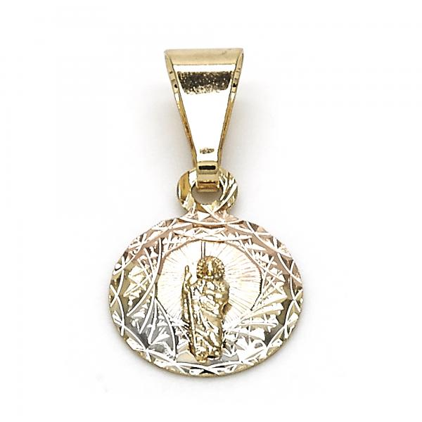Gold Layered 05.253.0025 Religious Pendant, San Judas Design, Diamond Cutting Finish, Tri Tone