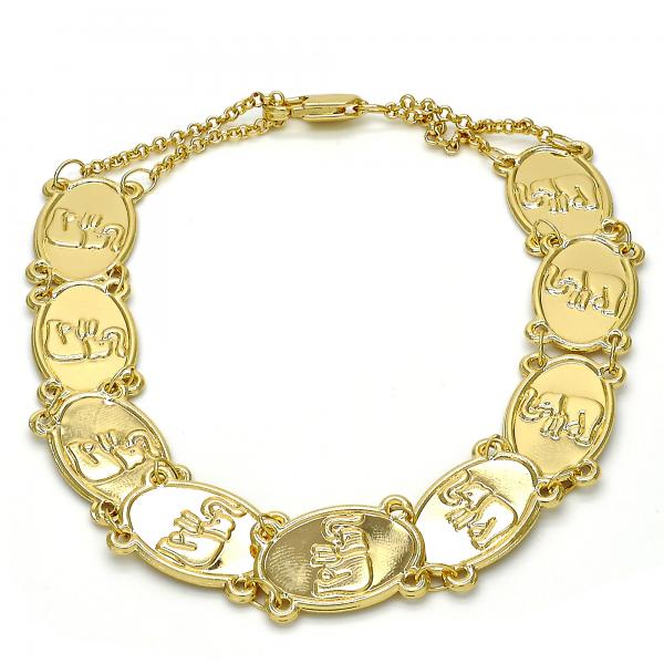 Gold Layered 03.253.0014.09 Fancy Bracelet, Elephant Design, Polished Finish, Golden Tone