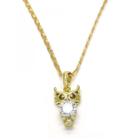 Gold Layered 04.26.0042.22 Fancy Necklace, Owl Design, with White Cubic Zirconia, Polished Finish, Golden Tone