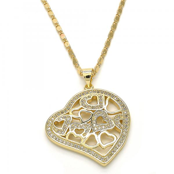 Gold Layered 04.195.0031.20 Fancy Necklace, Heart Design, with White Micro Pave, Polished Finish, Golden Tone
