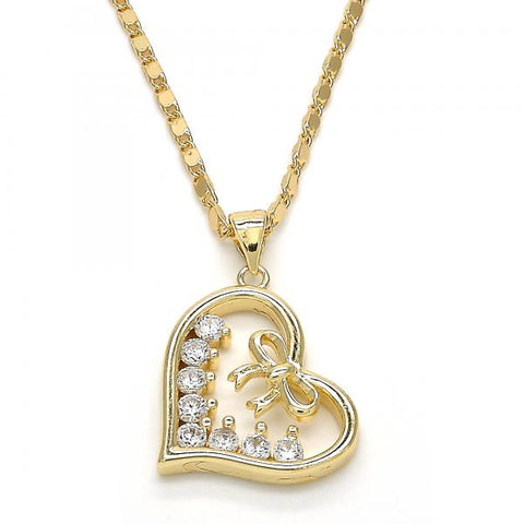 Gold Layered 04.195.0013.20 Fancy Necklace, Heart Design, with White Cubic Zirconia, Polished Finish, Golden Tone