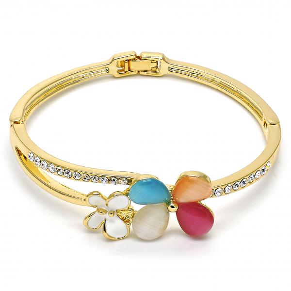 Gold Layered Individual Bangle, Butterfly and Flower Design, with Opal and Crystal, Golden Tone
