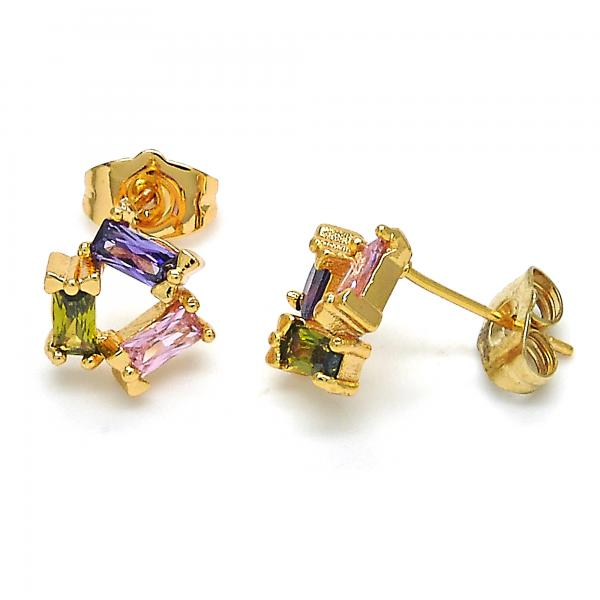 Gold Layered 02.310.0017 Stud Earring, with Multicolor Cubic Zirconia, Polished Finish, Golden Tone