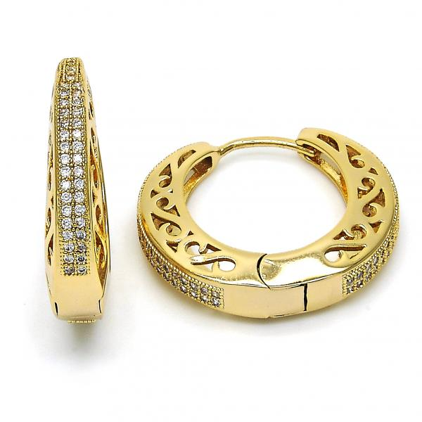 Gold Layered 02.297.0004.25 Huggie Hoop, with White Micro Pave, Polished Finish, Golden Tone
