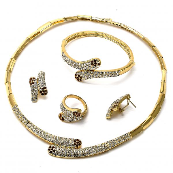 Gold Layered 06.59.0095 Necklace, Bracelet, Earring and Ring, Bamboo Design, with White and Orange Crystal, Golden Tone