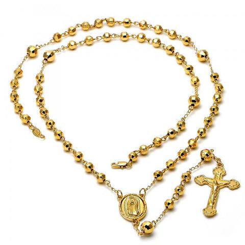 Gold Layered 5.202.001.30 Large Rosary, Crucifix and Guadalupe Design, Diamond Cutting Finish, Golden Tone
