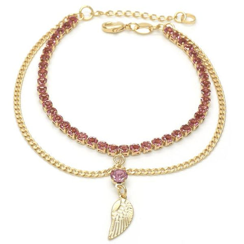 Gold Layered 03.32.0108.08 Charm Bracelet, Wings and Curb Design, with Pink Cubic Zirconia, Polished Finish, Golden Tone