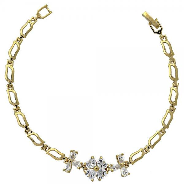 Gold Layered 5.027.011 Fancy Bracelet, Flower Design, with White Cubic Zirconia, Polished Finish, Golden Tone