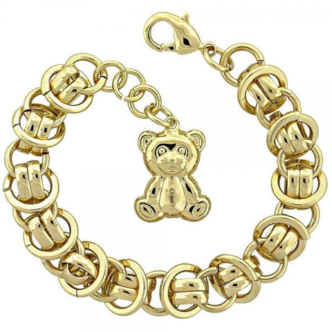 Gold Layered 5.004.002 Fancy Bracelet, Teddy Bear Design, Diamond Cutting Finish, Golden Tone