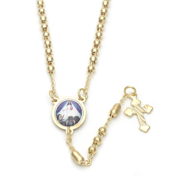 Gold Layered 09.02.0019.18 Thin Rosary, Caridad del Cobre and Cross Design, Polished Finish, Golden Tone
