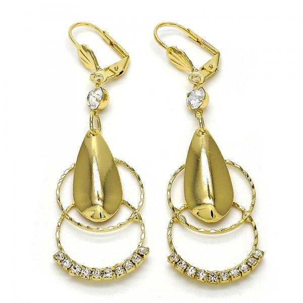 Gold Layered 02.296.0008 Long Earring, Teardrop Design, with White Crystal, Polished Finish, Golden Tone