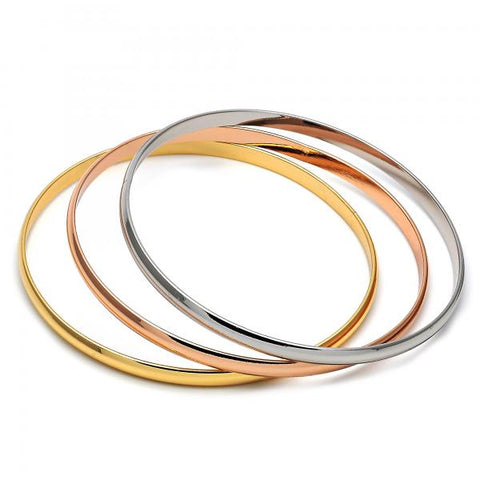 Gold Layered 5.233.010 Trio Bangle, Polished Finish, Tri Tone (04 MM Thickness, Size 5 - 2.50 Diameter)