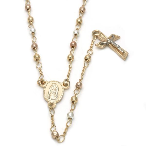 Gold Plated 09.59.0037.2.24 Medium Rosary, Guadalupe and Crucifix Design, Polished Finish, Tri Tone