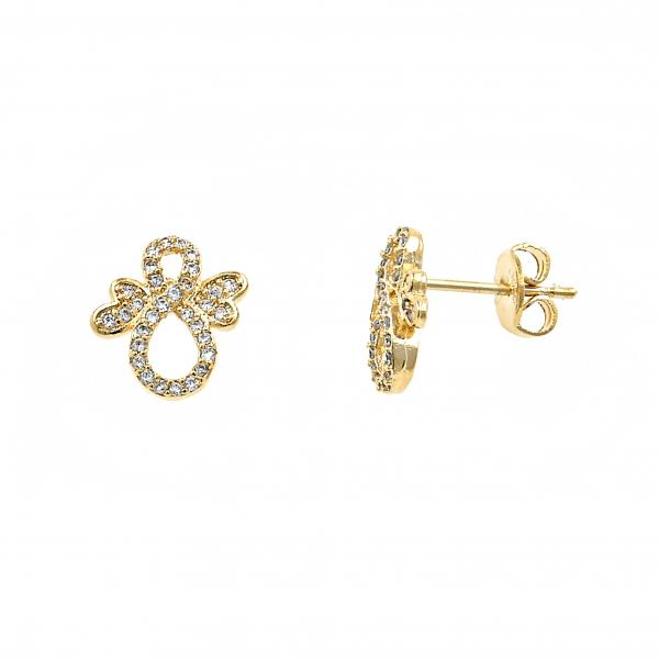 Gold Layered 02.122.0077 Stud Earring, Infinite Design, with White Micro Pave, Polished Finish, Gold Tone