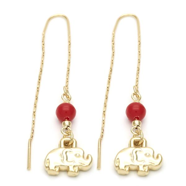 Gold Layered 02.02.0471 Long Earring, Elephant Design, with Ruby Opal, Polished Finish, Golden Tone