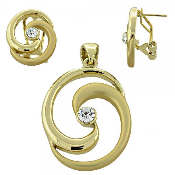 Gold Layered 5.040.005 Earring and Pendant Adult Set, with  Crystal, Golden Tone