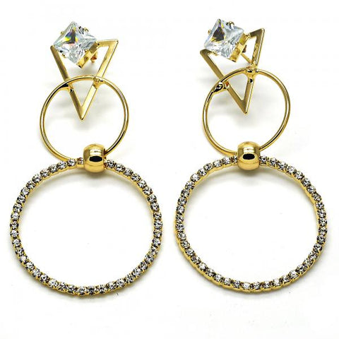 Gold Layered 02.268.0063 Long Earring, with White Cubic Zirconia and White Crystal, Polished Finish, Golden Tone