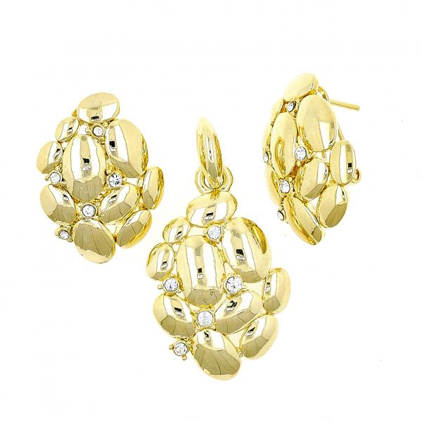 Gold Layered 10.59.0222 Earring and Pendant Adult Set, Grape Design, with White Cubic Zirconia, Polished Finish, Golden Tone