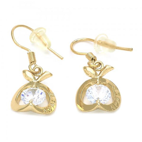 Gold Layered 02.171.0029 Dangle Earring, Apple Design, with White Cubic Zirconia, Polished Finish, Golden Tone