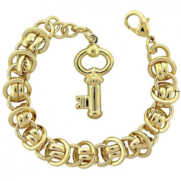 Gold Layered 5.004.001 Fancy Bracelet, key Design, Diamond Cutting Finish, Golden Tone