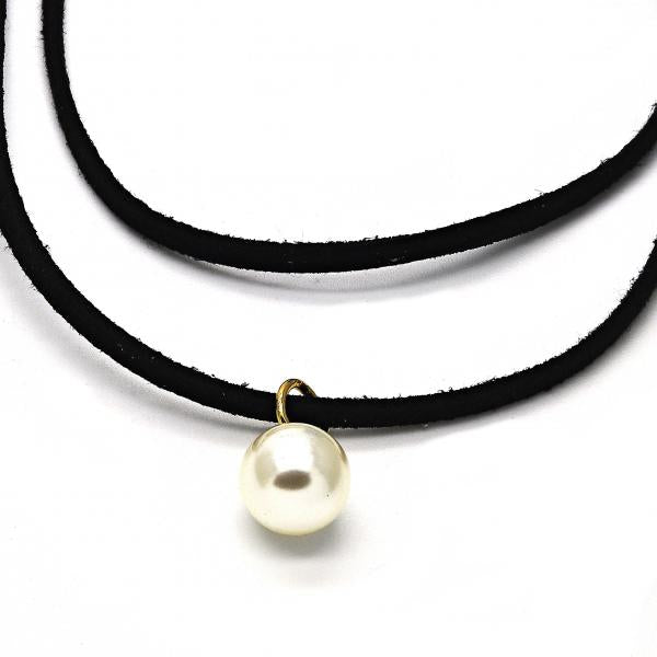 Gold Layered 04.215.0010.13 Fancy Necklace, Choker and Ball Design, with Ivory Pearl, Polished Finish, Golden Tone
