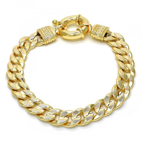 Gold Layered 03.179.0027.08 Basic Bracelet, Concave Cuban and Greek Key Design, Polished Finish, Golden Tone