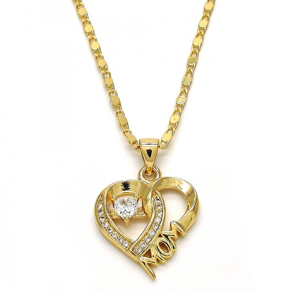 Gold Layered 04.156.0122.18 Fancy Necklace, Heart and Mom Design, with White Cubic Zirconia, Polished Finish, Golden Tone