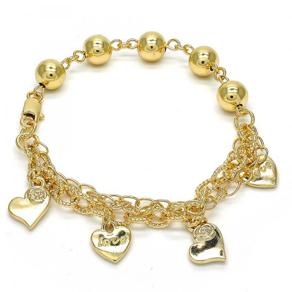 Gold Layered 03.179.0047.07 Charm Bracelet, Heart and Love Design, Polished Finish, Golden Tone