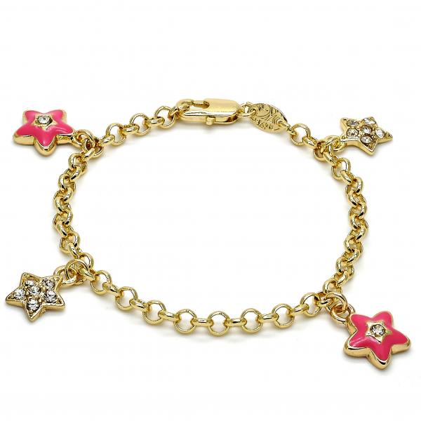 Gold Layered 03.63.1367.06 Charm Bracelet, Star and Rolo Design, with White Crystal, Pink Enamel Finish, Golden Tone