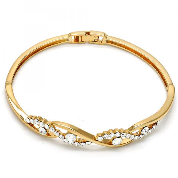 Gold Layered 07.171.0031.04 Individual Bangle, with White Crystal, Polished Finish, Golden Tone (03 MM Thickness, Size 4 - 2.25 Diameter)