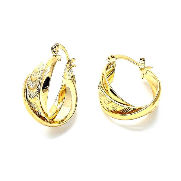 Gold Layered 5.159.003 Small Hoop, Twist Design, Diamond Cutting Finish, Golden Tone