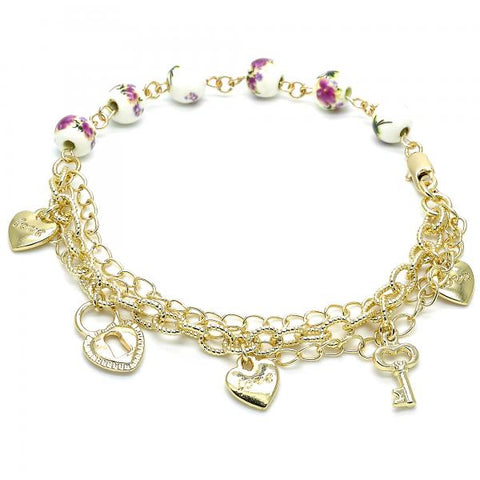 Gold Layered 03.179.0060.10 Charm Anklet , Heart and key Design, Polished Finish, Golden Tone
