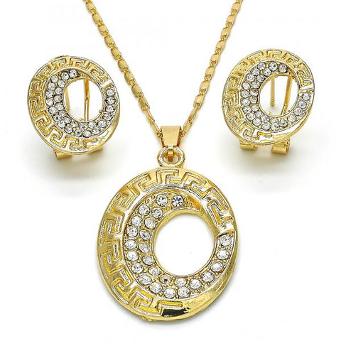 Gold Layered 10.306.0019 Earring and Pendant Adult Set, Greek Key Design, with White Crystal, Polished Finish, Golden Tone