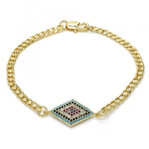 Gold Layered 03.233.0006.08 Fancy Bracelet, with Multicolor Micro Pave, Polished Finish, Golden Tone