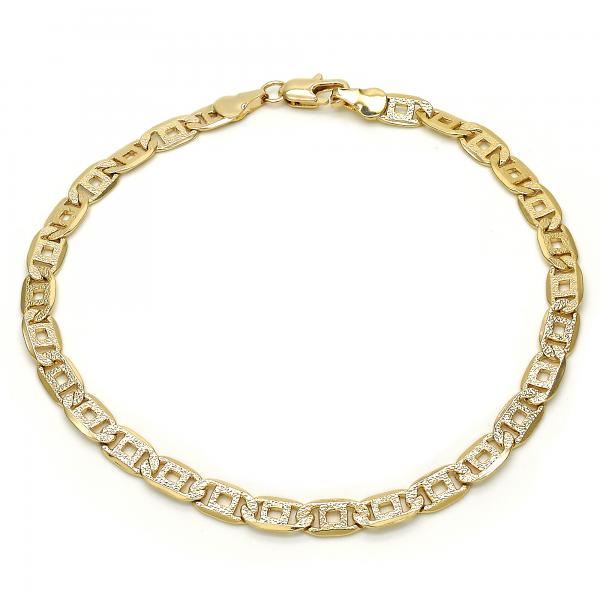 Gold Layered 04.63.1365.10 Basic Anklet, Pave Mariner Design, Matte Finish, Golden Tone