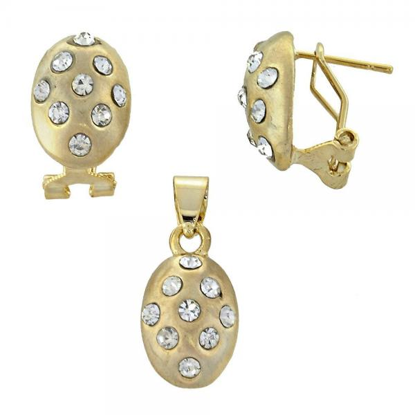 Gold Layered 5.048.006 Earring and Pendant Adult Set, with  Crystal, Golden Tone