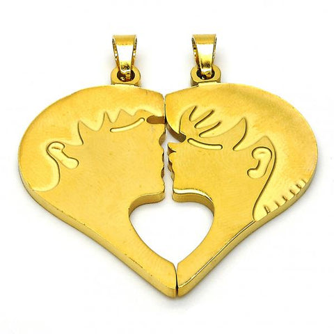 Stainless Steel 05.116.0048 Fancy Pendant, Heart Design, Polished Finish, Golden Tone
