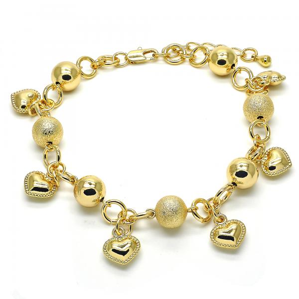 Gold Layered 03.179.0054.10 Charm Anklet , Heart Design, Matte Finish, Golden Tone