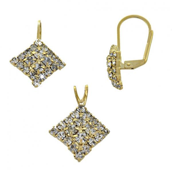 Gold Layered 5.056.006 Earring and Pendant Adult Set, with  Cubic Zirconia, Golden Tone