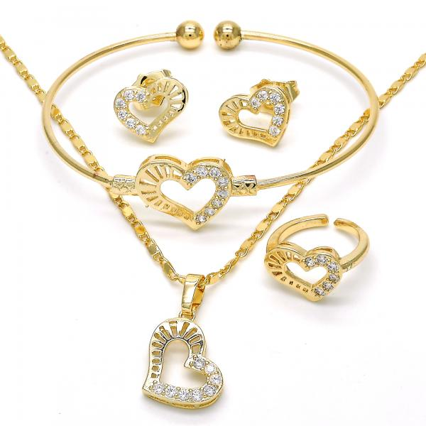 Gold Layered 06.329.0003 Earring and Pendant Children Set, Heart Design, with White Cubic Zirconia, Polished Finish, Golden Tone