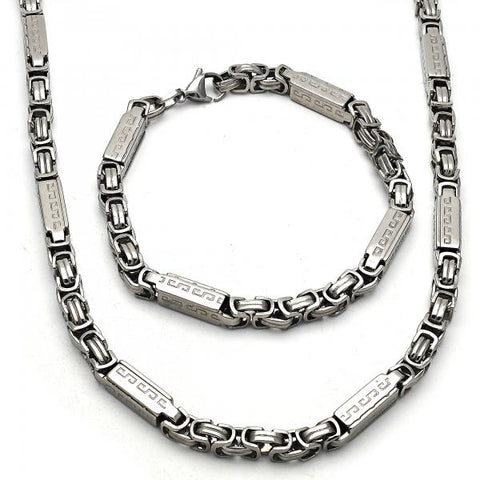 Stainless Steel 06.289.0010 Necklace and Bracelet, Polished Finish, Steel Tone