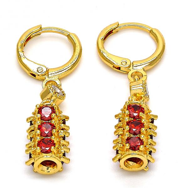 Gold Layered 02.206.0028 Long Earring, with Garnet and White Cubic Zirconia, Polished Finish, Golden Tone