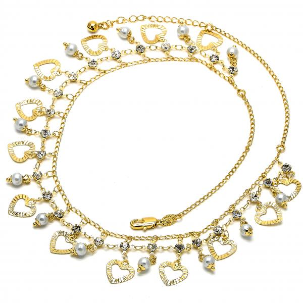 Gold Layered 04.105.0015 Fancy Necklace, Leaf Design, with Gray Pearl and White Cubic Zirconia, Polished Finish, Golden Tone