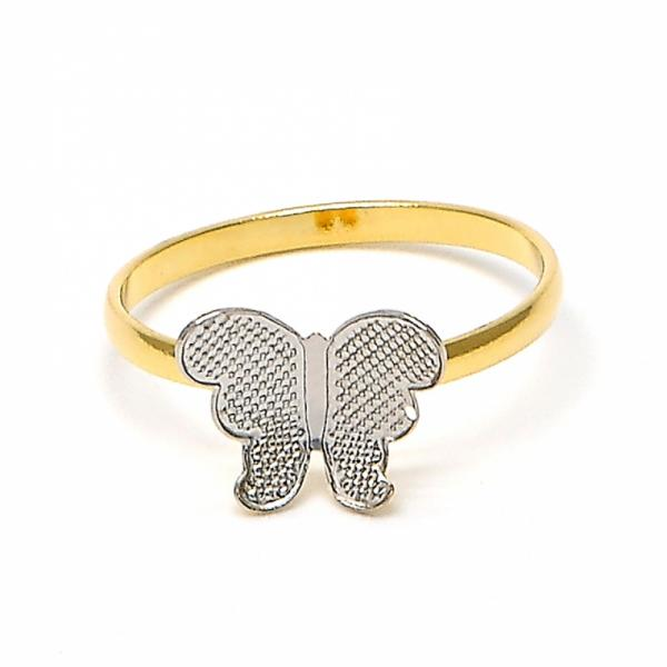 Gold Layered Baby Ring, Butterfly Design, Two Tone