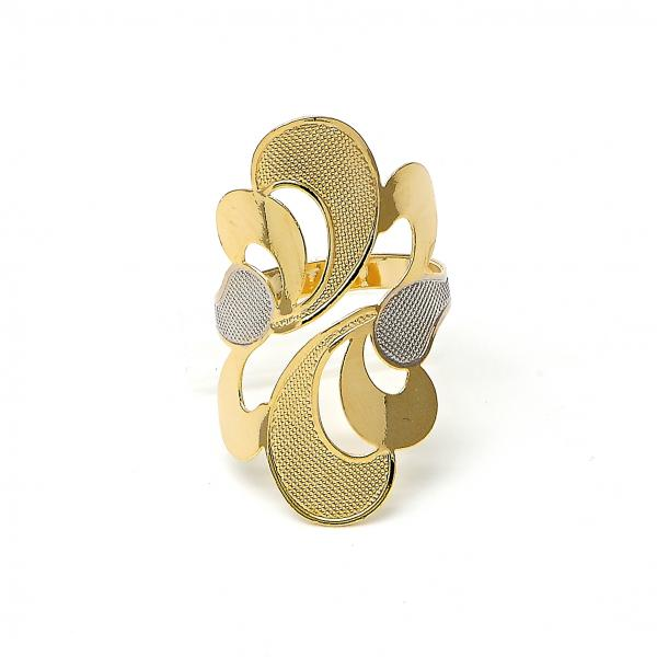 Gold Layered Elegant Ring, Tri Tone