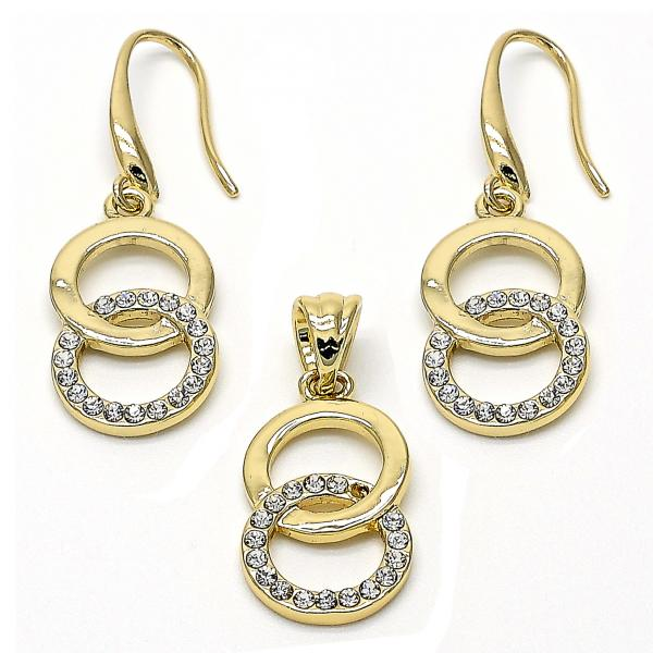 Gold Layered 10.59.0183 Earring and Pendant Adult Set, with White Crystal, Polished Finish, Golden Tone