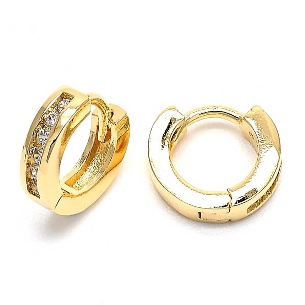 Gold Layered 02.156.0140 Huggie Hoop, with White Cubic Zirconia, Polished Finish, Golden Tone