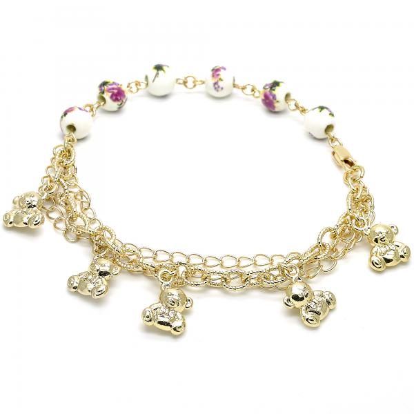 Gold Layered 03.179.0059.10 Charm Anklet , Teddy Bear and Flower Design, Polished Finish, Golden Tone