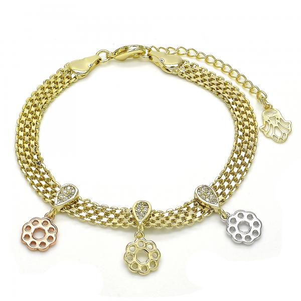 Gold Layered 03.99.0009.07 Charm Bracelet, Flower Design, with White Cubic Zirconia, Polished Finish, Tri Tone