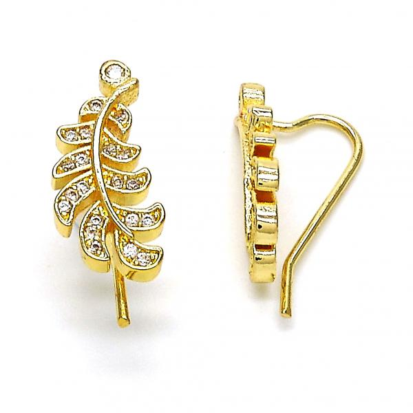 Gold Layered 02.156.0185 Leverback Earring, Leaf Design, with White Cubic Zirconia, Polished Finish, Golden Tone